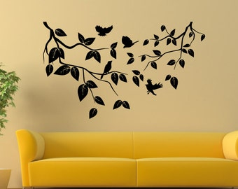 Tree Branches And Birds Vinyl Wall Decal Home Decor a74