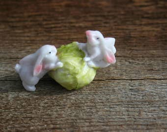Two little Easter bunnies and their lettuce