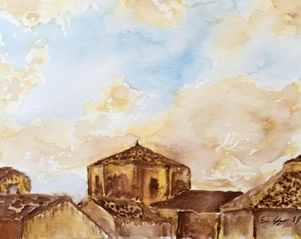 Original Watercolor Painting of Sicily - 6 x 9 inches