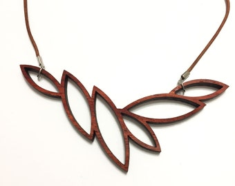 Falling Leaves Wood Necklace