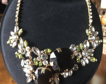 vintage bib rhinestone couture necklace