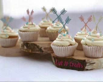 Boho theme cupcake toppers