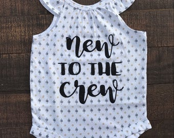 New to the crew tribal baby onsie