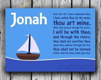 Jonah, Bible Name Wall Art, Christian Nursery Wall Art, Printable, Download