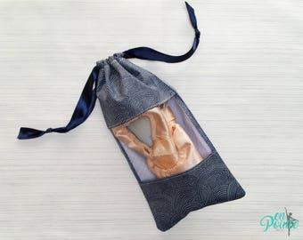 Ballet Pointe Shoe Bag - Dance Shoe Bag - Ballet Bag   Navy Swirl