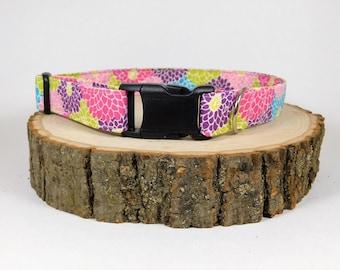 Dog Collar/ Mums Dog Collar/ Flower Dog Collar/ Pink Dog Collar/ Bright Dog Collar/ Girl Dog Collar/ Dog Accessories/ Fabric Dog Collar