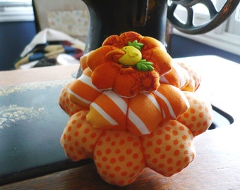 Pin Cushion, whimsical, funky Orange you glad you picked me?