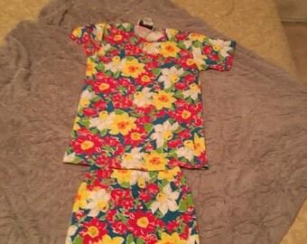 90s Adrienne Vittadini Sport flower skirt and shirt