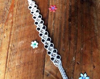 Hemp Choker Necklace with Beads