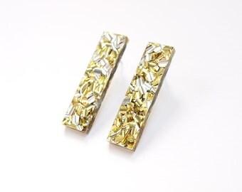 Bar Stud Earrings in Gold Glitter Acrylic