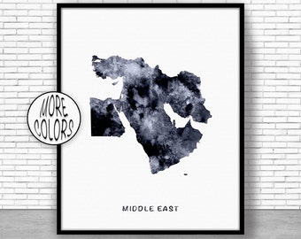 Middle East Map, Middle East Print, Middle East Art, Map Wall Art Print, Travel Map, Travel Decor, Office Decor, Office Wall Art