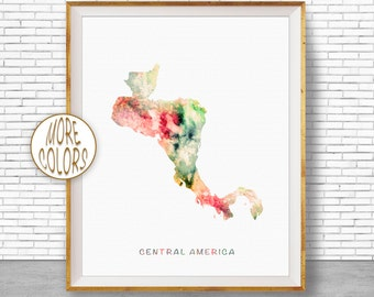 Central America Map Wall Art Print, Travel Decor, Central America Art, Travel Map, Office Decor, Office Wall Art