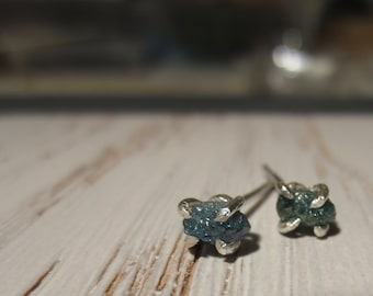 Rough Blue Conflict Free Diamond Stud Claw Earrings ~ Sterling Silver ~ Rough Blue Diamonds 6mm