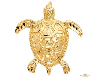 14k Yellow Gold Na Hoku Sea Turtle Hawaii Pendant