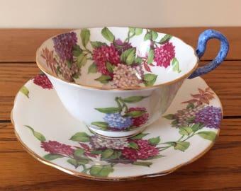 Aynsley hydrangea teacup and saucer