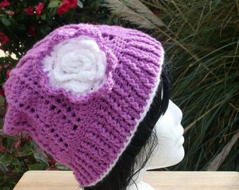 Ladies Hand Crocheted Hat, Womans Magenta Hat, Ready To Post.