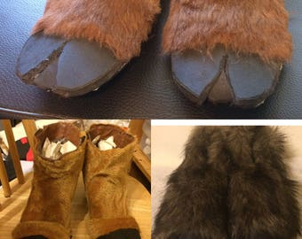 Custom costume faux fur faun or satyr shoes FREE SHIPPING