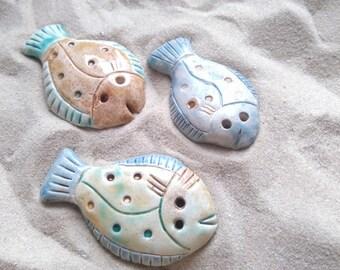 ceramic flounders set, ceramic fish, wall hanging fish