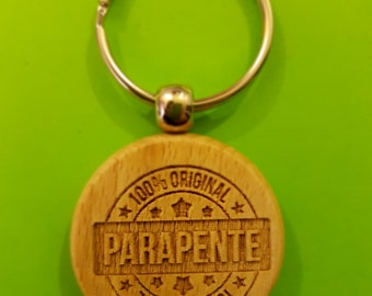 Keychain wooden o40mm pattern: 100% paragliding