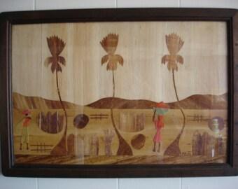 Wood Haiti Inlay Picture, Framed Man & Woman Harvest Palm Trees 26x18 Folk Art