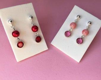 Girls sterling silver pink red dangle earrings- kids swarovski crystal sterling silver earrings- small dangle stainless steel stud earrings-