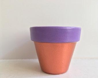 Purple/Copper Terracotta Pot