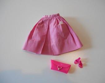 Vintage Barbie Fashion Pak PINK Gathered Skirt Cotton Mix & Match Group (1962-1963) Complete