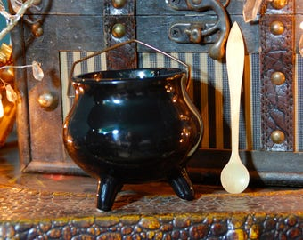 Small Vintage Black Ceramic Cauldron and Natural Bone Spoon - Altar- Wiccan -Pagan- Witchcraft