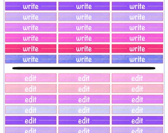 """Author Planner Stickers - Word Sheet """"Write and Edits"""""""