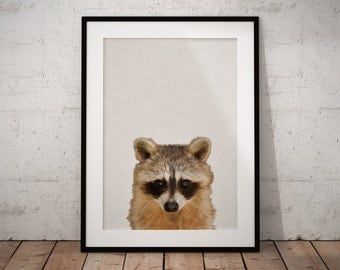Woodland Nursery, Woodland Raccoon Art, Woodland Kids Art, Woodland Print Raccoon, Raccoon Print, Nursery Forest Art, Woodland Nursery Art