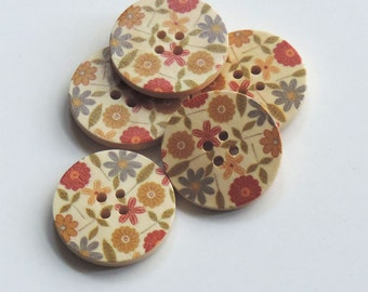 Folksy Flowers Pattern Wooden 30mm Buttons, set of 5, in two styles