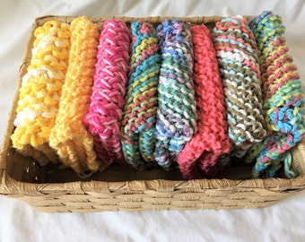 Ready to ship- Set of 8 - 100% Cotton, Eco Friendly Handcrafted Knitted Cloth for Kitchen or Bath