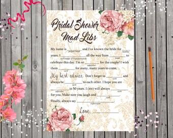 Vintage Roses with Damask Print Bridal Shower Mad Libs Game Digital Printable