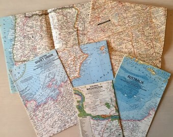SALE- Vintage Maps- 6 ct- 1960's - Scrapbooking - Craft Paper