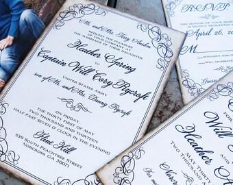 Calligraphy Script Flourish wedding invitation set. Framed Flourishes Wedding Invitation. Flourish Parchment Invitation