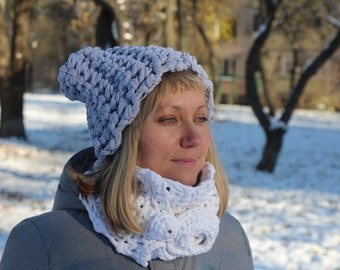 Chunky snood, big scarf, extra large collar, knitted collar
