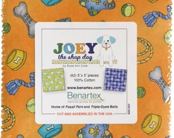 """Joey The Shop Dog Charm Pack By Rose Ann Cook for Benartex - 42, 5"""" x 5"""" Precut Fabric Squares"""