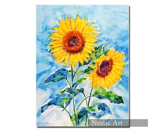 Sunflowers, watercolors, flowers, blue sky, Home decor, wall art, printable, popular item, most