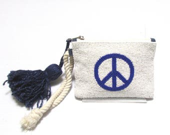 Swaraj Bag PEACE 2 tassel with bees porch - BLUE beaded embroidery chain piece