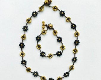 Beaded Flower Necklace & Bracelet Set - Black, Boho Jewelry, Bohemian Jewelry, Wax Cord Necklace, Wax Cord Bracelet, Hippie Jewelry
