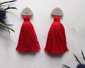 Bright Scarlet Red Half-moon Tassel Earrings