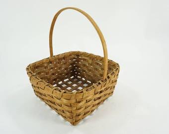 Vintage Basket, Basket w/ Handle, Sewing Storage Basket, Small Square Open Weave Basket, Handmade Basket, Woven Basket.  Free Ship