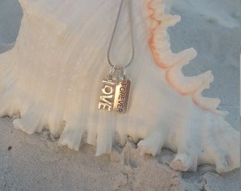 Silver Love and Forever Charm Necklace