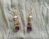 Amythest and Tourmaline Gold Filled Earrings