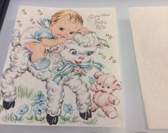Vintage set of 2 art prints baby boy lamb teddy bear NO FRAME congratulations card nursery kids room art shabby chic pastel decor ephemera