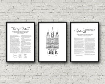 Living Christ + Salt Lake Temple + Family Proclamation | Set of 3 | Poster 24x36 | Digital Prints | Instant Download | LDS
