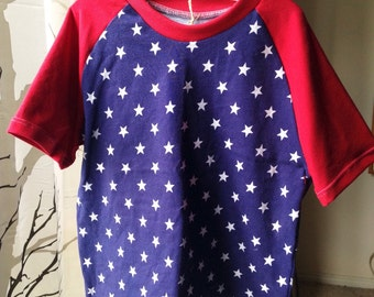 Blue star tshirt with red sleeves