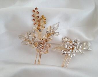 Bridal Hair Pin, Wedding Hair Comb, Bridal Comb Set, Gold Hair Accessories, Rose Gold Hair Jewelry