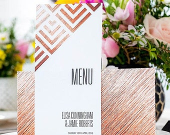 Wedding breakfast menu - Geometric design and printed on top quality card