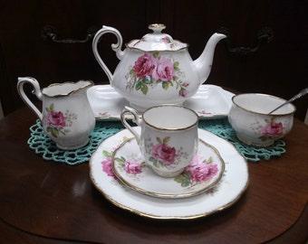 """Royal Albert """"American Beauty"""" Single Service Tea Set-Bone China"""